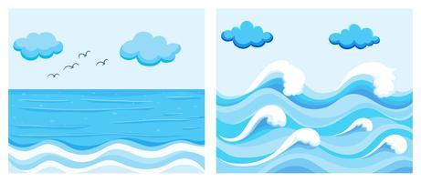 Cena do oceano com ondas vetor