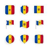 conjunto de ícones da bandeira da moldávia vetor
