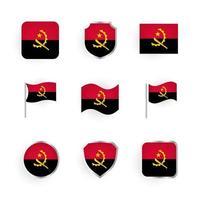 conjunto de ícones da bandeira de angola vetor