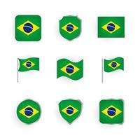 conjunto de ícones da bandeira do brasil vetor