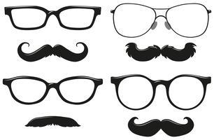 Diferentes desenhos de bigode e óculos vetor