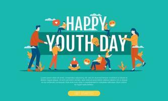feliz dia da juventude grande palavra com pessoas pequenas vecto vetor