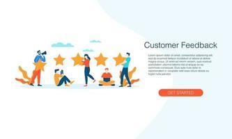 feedback do cliente, classificação por estrelas, ilustração vetorial concep vetor