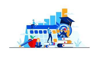 educação universitária os alunos estudam em um campus vetor