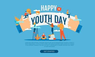 feliz dia da juventude grande palavra com vetor de pessoas pequenas