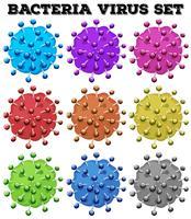 Vírus de bactérias em muitas cores vetor