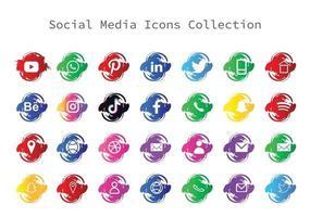 tipo de pincel de ícones de mídia social vetor