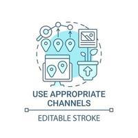 use os canais apropriados para o ícone do conceito de conteúdo vetor
