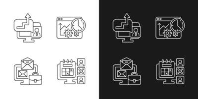 Ícones lineares dos rastreadores de trabalho definidos para o modo claro e escuro vetor