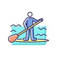 ícone de cor de surf rgb de prancha de remo vetor