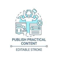 publicar ícone de conceito de conteúdo prático vetor