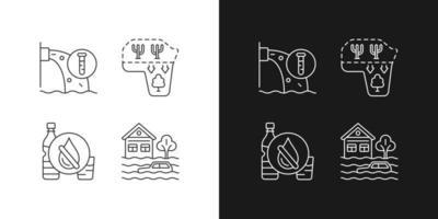 ícones lineares de estresse hídrico definidos para os modos claro e escuro vetor