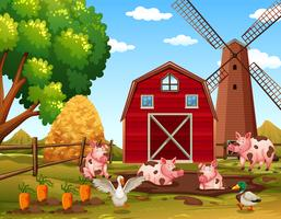 Animais de fazenda rural feliz vetor