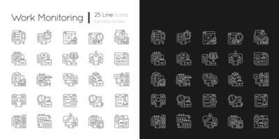 ícones lineares de monitoramento de trabalho definidos para modo claro e escuro vetor