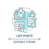 ícone de conceito de lista de postagens vetor