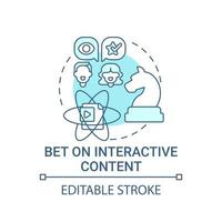 apostar no ícone do conceito de conteúdo interativo vetor