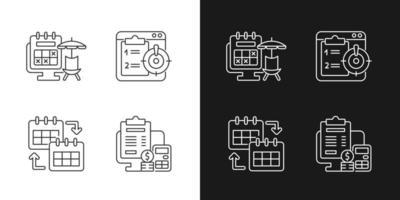 Ícones lineares de rastreadores de trabalho remotos definidos para o modo claro e escuro vetor