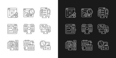 ícones lineares de ferramentas de monitoramento de trabalho definidos para modo claro e escuro vetor