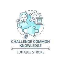 desafiar ícone do conceito de conhecimento comum vetor