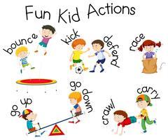 Diversão garoto ações playground ilustração vetor
