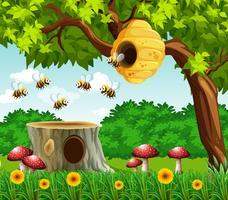 Cena jardim, com, abelhas, voando vetor