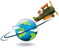Menina voando avião ao redor do mundo vetor