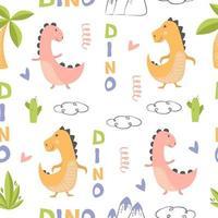 dinossauros de padrão vetorial para design têxtil infantil vetor