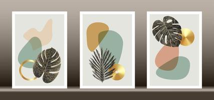 conjunto de vetores de arte de parede botânica. arte linha folhagem dourada