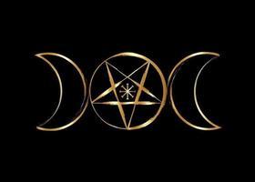 símbolo do pentáculo wicca da deusa da lua tripla, ícone dourado de bruxaria vetor