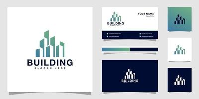 construção de vetor de design de logotipo com design de cartão de visita