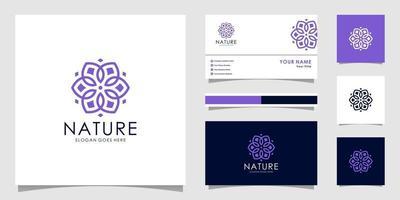 vetor de logotipo premium de flor da natureza com design de cartão de visita