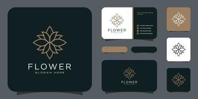 Flor com logotipo de luxo da linha mono com design de cartão de visita vetor
