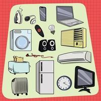 aparelhos usados em casa todos os dias vetor