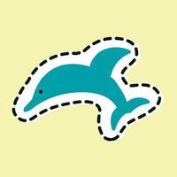 pulando o ícone do golfinho isolado no fundo amarelo. vetor