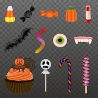 conjunto de doces de halloween isolado vecto vetor