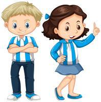 Menina menino, em, azul branco, camisa vetor