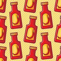 ilustração de padrão sem emenda de hot chili ketchup vetor