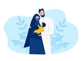 família muçulmana árabe família muçulmana com desenho animado infantil vetor