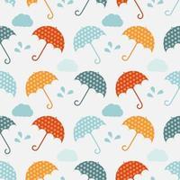padrão sem emenda com guarda-chuvas e nuvens vetor