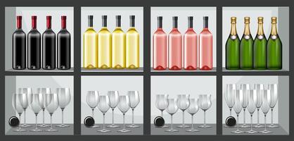 Prateleira cheia de garrafas e copos de vinho vetor