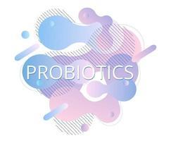 probióticos e fluido bacteriano. logotipo do lactobacillus com texto. vetor