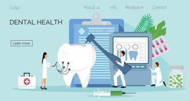 dentistas minúsculos trabalham, tratam dentes enfermos. conceito de vetor de saúde bucal