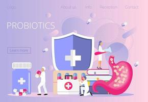 minúsculos médicos administram bactérias probióticas estomacais, os lactobacilos. vetor
