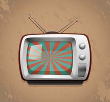 Televisão retrô no fundo grunge vetor