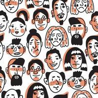 padrão uniforme de muitos rostos humanos diferentes vetor