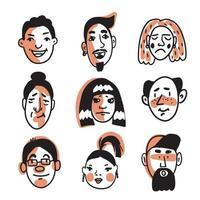 conjunto de nove rostos humanos diferentes com várias expressões vetor
