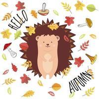 ilustração dos desenhos animados do vetor ouriço fofo, folhas e cogumelos