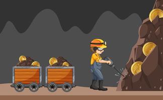 Um trabalhador de mina no fundo branco vetor