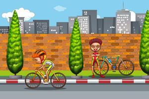 Homem, bicicleta equitação, em, cidade vetor