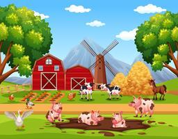 Animais de fazenda feliz rural vetor
